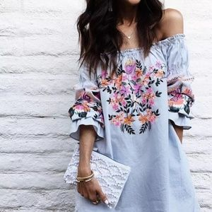 Off The Shoulder Long Sleeve Floral Blouse